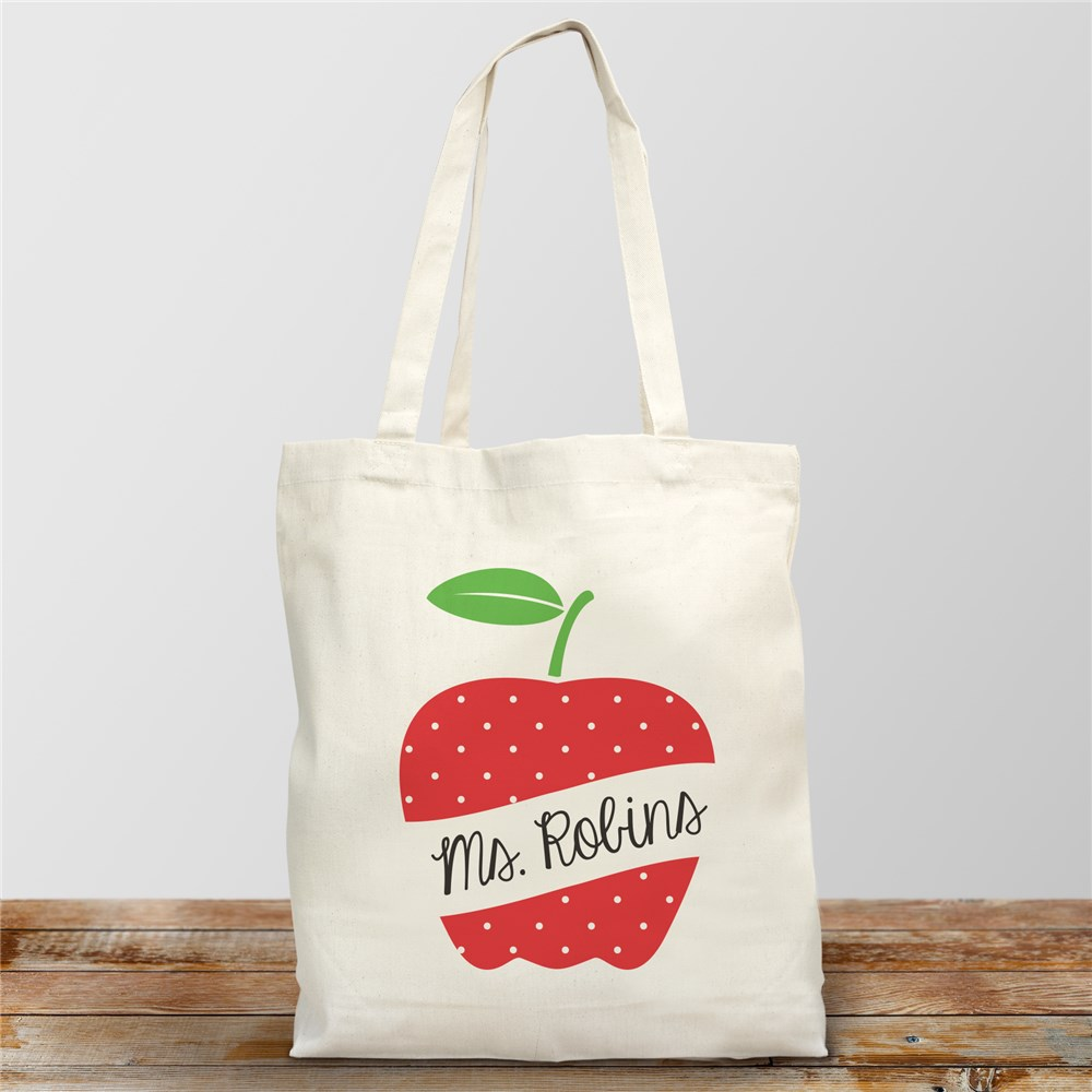 Personalized Polka Dot Apple Tote Bag | Personalized Teacher Gifts