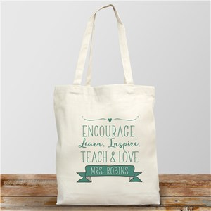 Personalized Encourage-Learn-Inspire Tote Bag | Personalized Teacher Tote Bags