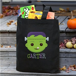 Personalized Frankenstein Black Trick or Treat Bag Tote | Personalized Trick Or Treat Bag