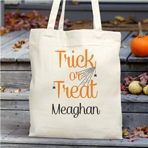 Personalized Trick Or Treat Canvas Tote Bag | Personalized Trick Or Treat Bags