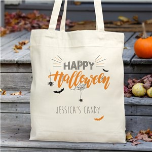 Personalized Happy Halloween Trick or Treat Bag Tote | Personalized Trick Or Treat Bag