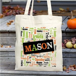 Halloween Word Art Tote Bag | Personalized Trick Or Treat Bags