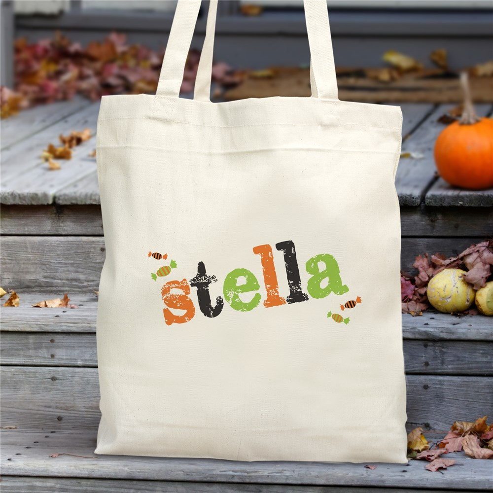 Personalized Candy Crew Canvas Tote Bag | Personalized Trick Or Treat Bags