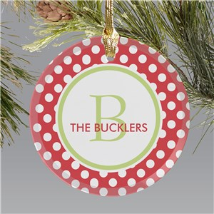Polka Dot Round Glass Personalized Ornament | Personalized Christmas Ornaments