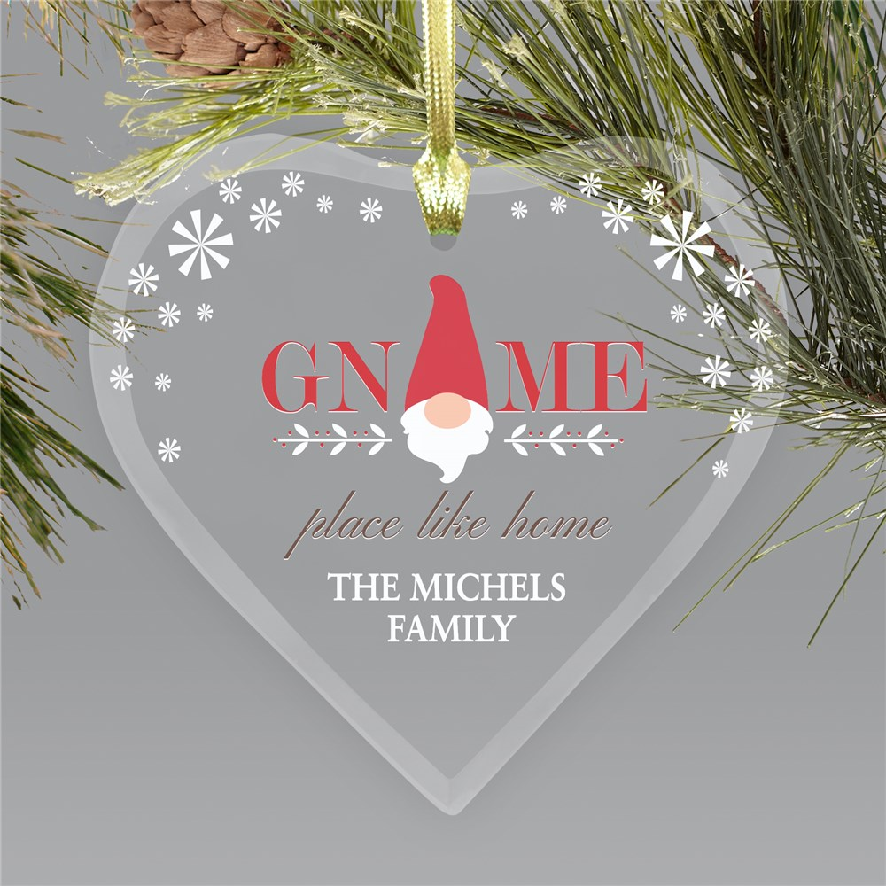 Personalized Gnome Place Like Home Glass Heart Ornament | Christmas Gnome Ornament