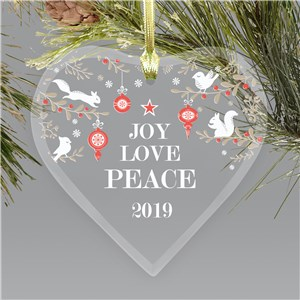 Joy Love Peace Glass Heart Personalized Ornament | Scandinavian Decor Ornament