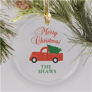 Merry Christmas Or Happy Holidays Choice Glass Personalized Ornament | Red Truck Christmas Decor