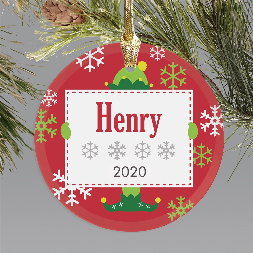Elf Personalized Christmas Ornament