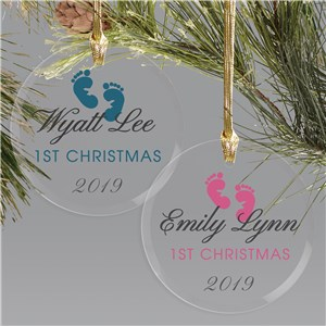 Baby's First Christmas Footprints Ornament | Personalized Ornament for Babies