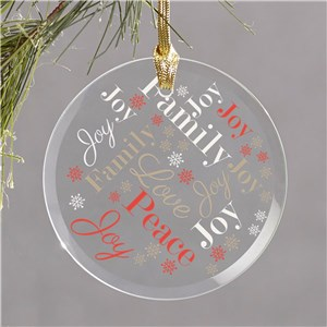 Joy Love Peace Ornament | Joy Love Peace Word Cloud Ornament