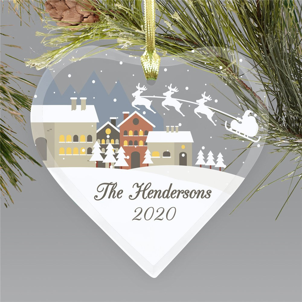 Christmas Town Ornament | Glass Heart Christmas Ornament