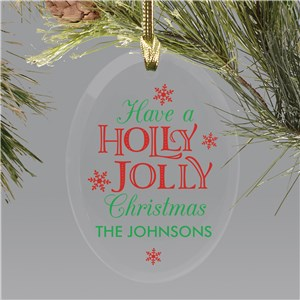 Holly Jolly Glass Ornament | Personalized Holly Jolly Ornament