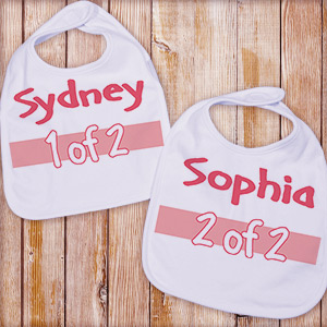 1 of 2 Twin Personalized Baby Bib