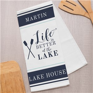 Lake House Dish Towel | Life is Better On The Lake Kitchen Towel