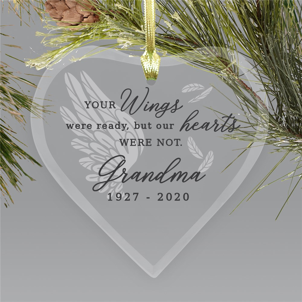 Heart Memorial Ornaments | Glass Memorial Ornament With Wing