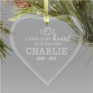Engraved Memorial Ornaments  | In Memory Of Pet Glass Ornament