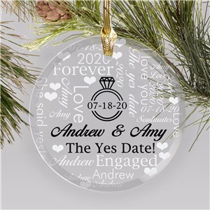 Personalized Engagement Ornaments | Customized Engaged Christmas Ornament