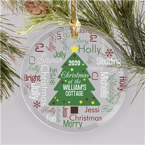 Personalized Family Ornaments | Word-Art Christmas Tree Ornament