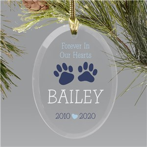 Pet Memorial Ornaments | Paw Prints Personalized Ornament