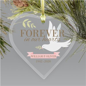 Memorial Ornaments | Dove Forever In Our Hearts Ornaments