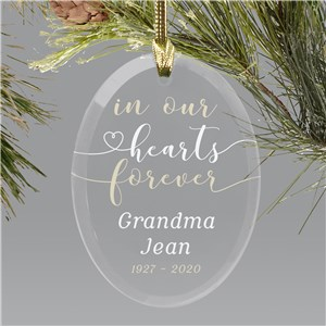 Personalized In Our Hearts Forever Glass Oval Ornament 8153684