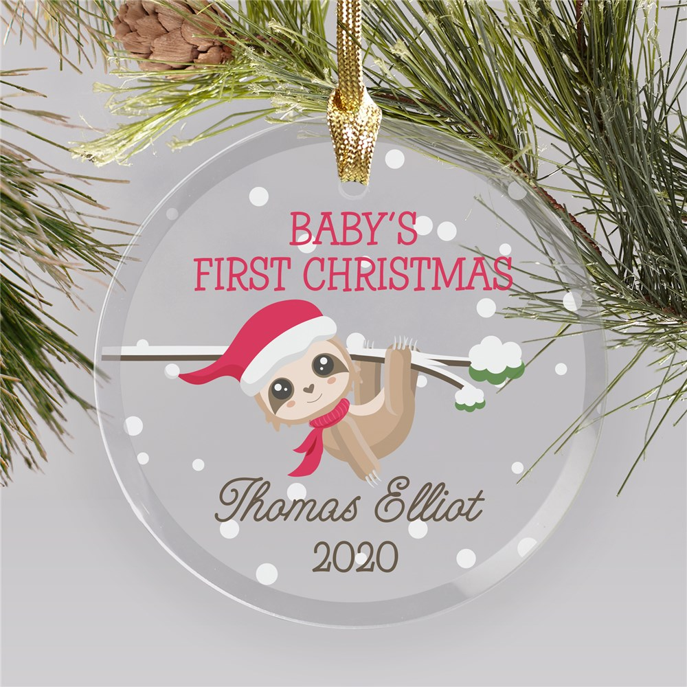 First Christmas Glass Ornament | Sloth Baby Ornament Personalized