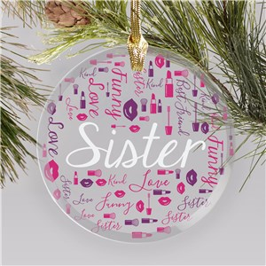 Personalized Makeup Ornaments | Personalized Sister Ornaments