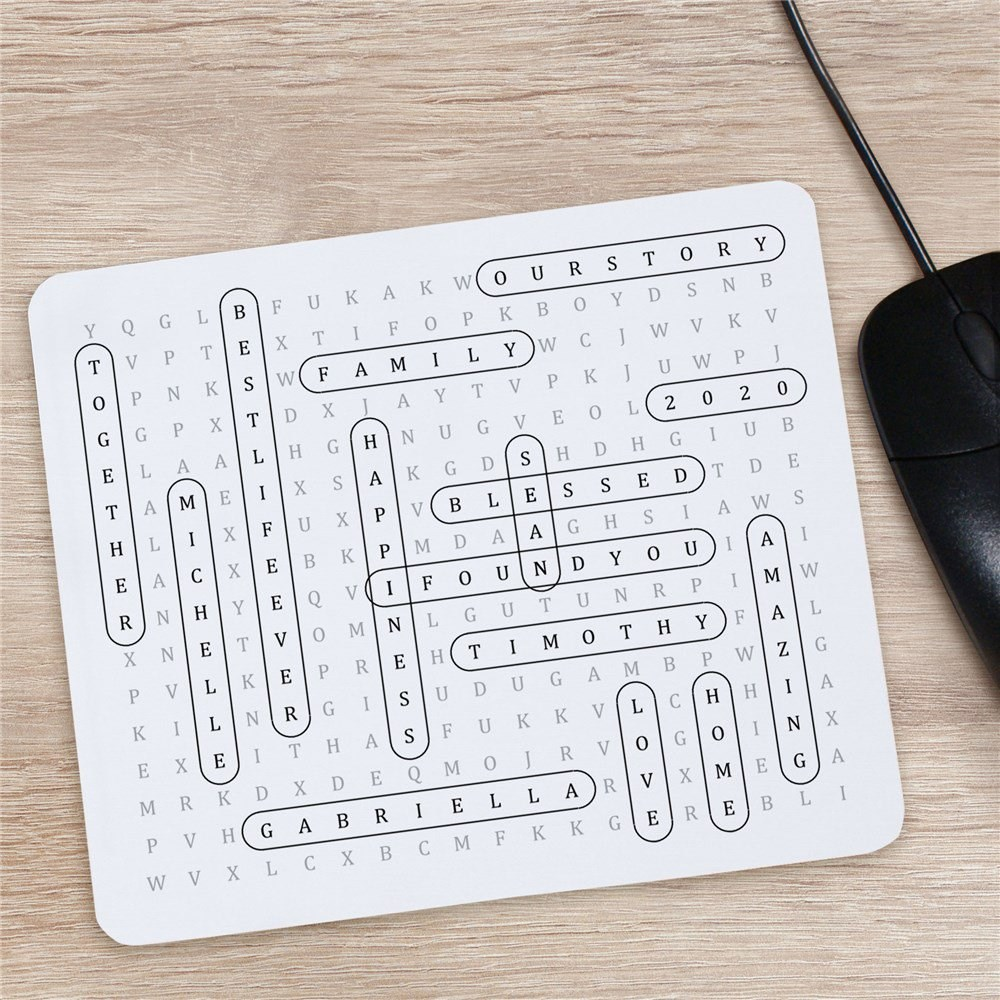 Customized Crossword Mouse Pad | Word-Search Office Gifts