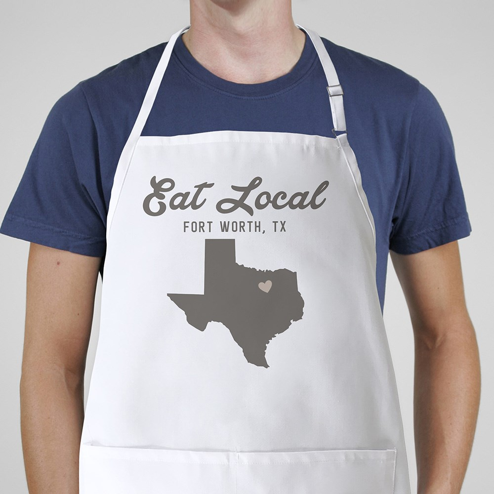 Personalized Eat Local State With Symbol Apron