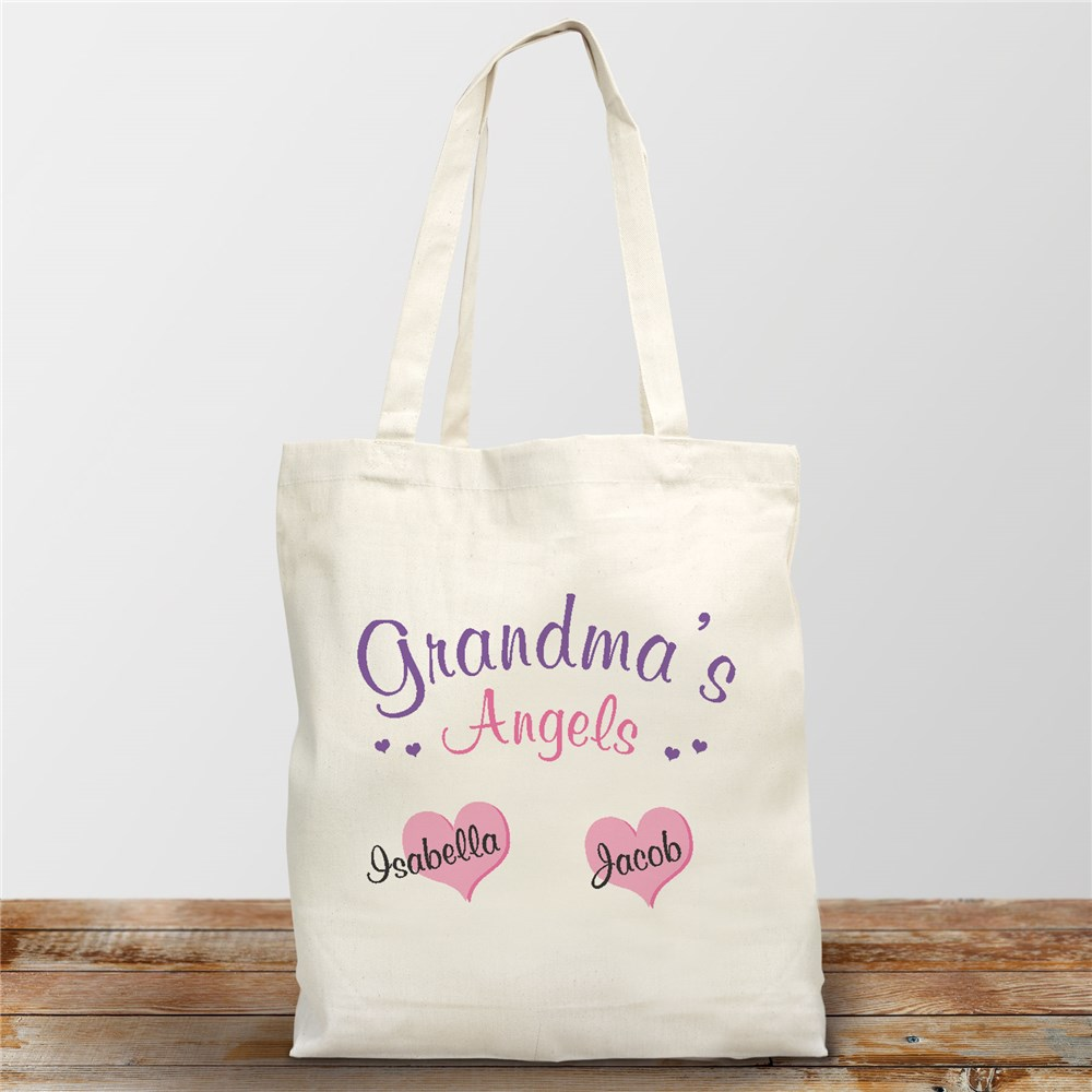 Angels Of My Heart Personalized Canvas Tote Bag