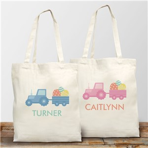 Easter Tote Bag with Tractor