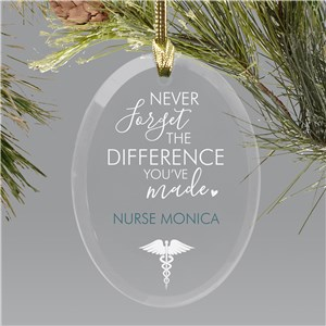 Personalized Never Forget The Difference You Have Made Oval Ornament