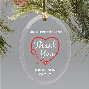 Personalized Thank You Stethoscope Doctor Ornament