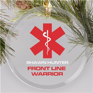 Personalized Frontline Warrior Round Glass Ornament