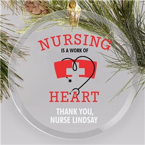 Personalized Nursing is a Work of Heart Round Glass Ornament