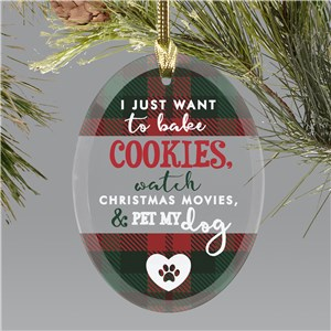 Personalized Bake Cookies Oval Glass Ornament 8171304