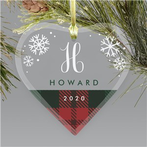 Personalized Plaid Snowflakes Glass Heart Ornament