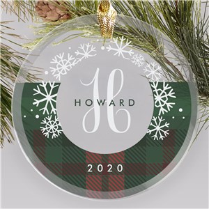 Personalized Glass Ornament with Plaid Pattern
