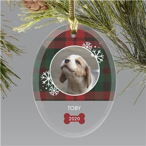 Personalized Plaid Pet Photo Oval Glass Ornament
