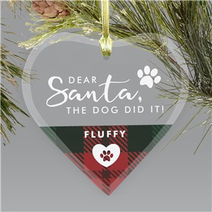 Personalized Dear Santa Glass Heart Ornament 8171484H