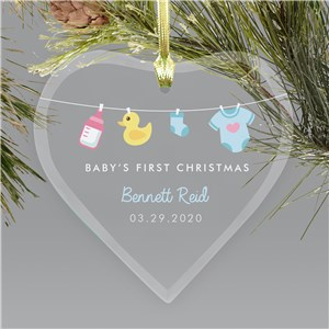 Personalized First Christmas Clothesline Glass Heart Ornament