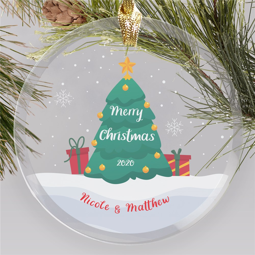 Personalized Snow Globe Christmas Tree Round Glass Ornament