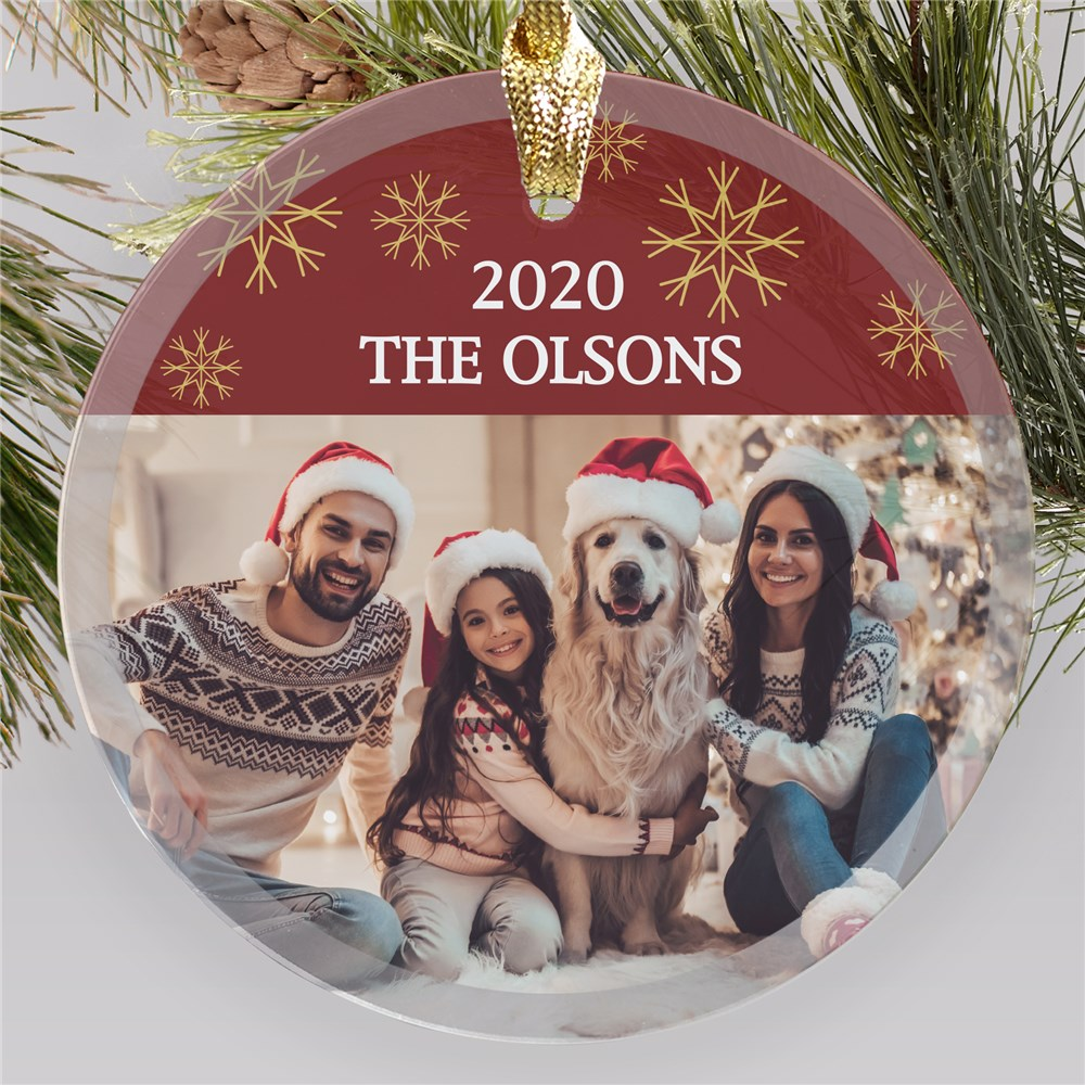 Personalized Family Photo Round Glass Ornament