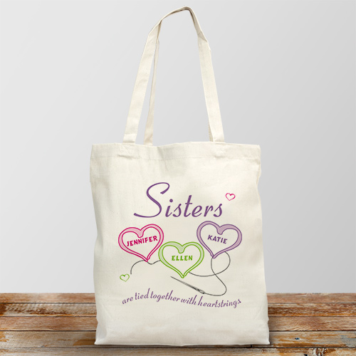 Sisters Heartstrings Personalized Totebag | Personalized Sister Gifts