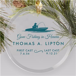 Personalized Gone Fishing in Heaven Round Glass Ornament