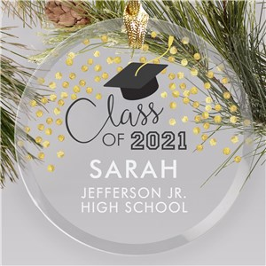 Personalized Class Of With Gold Confetti Glass Graduation Ornament