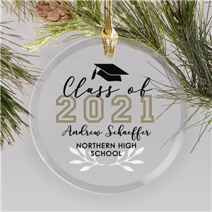 Personalized Class of Wreath Glass Graduation Ornament
