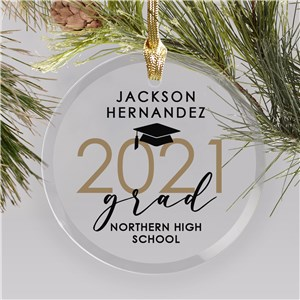 Personalized Grad Glass Ornament