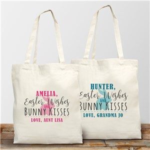 Personalized Easter Wishes Bunny Kisses Tote Bag