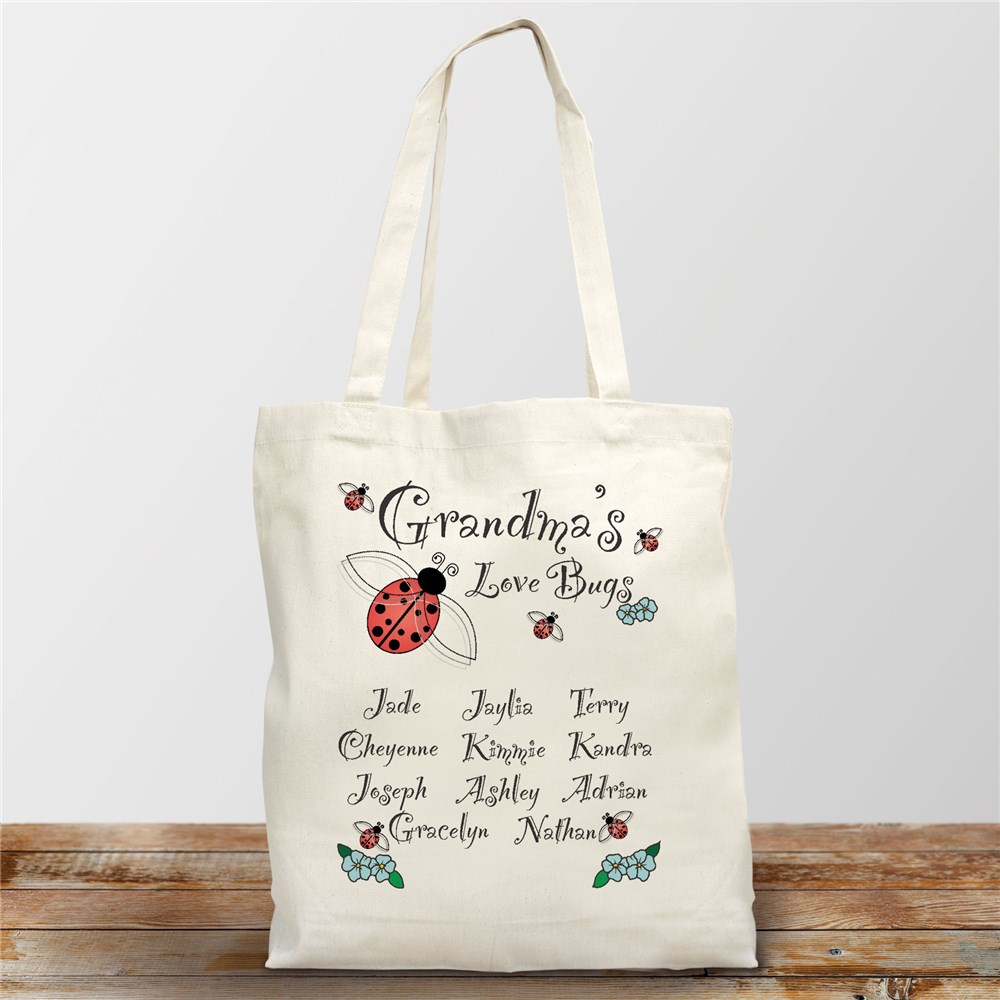 Love Bugs Personalized Canvas Tote Bag | Personalized Totes